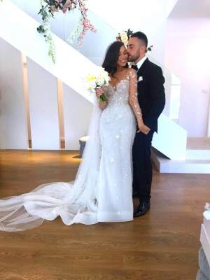 Paolo Sebastian – Size 6 Fishtail dress | Second hand wedding dresses West Pennant Hills - 4