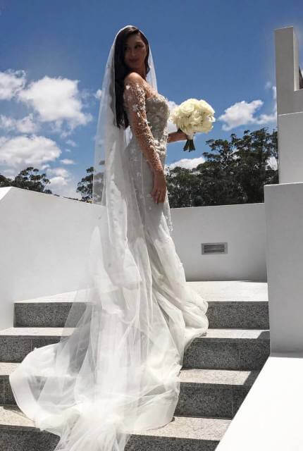 Paolo Sebastian – Size 6 Fishtail dress | Second hand wedding dresses West Pennant Hills - 2